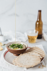 Olive oil with eggplant dip