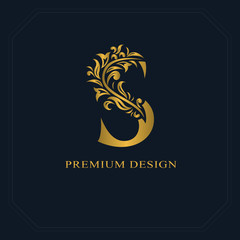 Gold Elegant letter S. Graceful style. Calligraphic beautiful logo. Vintage drawn emblem for book design, brand name, business card, Restaurant, Boutique, Hotel. Vector illustration