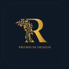 Gold Elegant letter R. Graceful style. Calligraphic beautiful logo. Vintage drawn emblem for book design, brand name, business card, Restaurant, Boutique, Hotel. Vector illustration