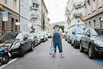 Denim Street Style - Outdoor Portrait of Fashionable Older Man