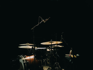 Drums on a musical stage ready for the concert