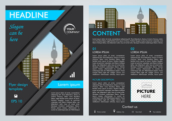 Vector flyer, corporate business, annual report, brochure design and cover presentation with blue lines.