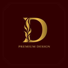 Gold Elegant letter D. Graceful style. Calligraphic beautiful logo. Vintage drawn emblem for book design, brand name, business card, Restaurant, Boutique, Hotel. Vector illustration