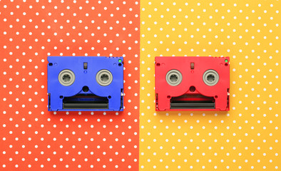 Super mm cassettes  with colorful topped background