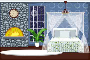 The interior of the bedroom. Cozy room with a fireplace, snow outside the window. Cartoon. Vector.