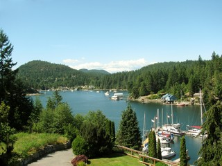 View of a portion of Pender Harbour on Sunshine Coast, BC, Canada