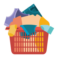 colorful silhouette of laundry basket with heap of clothes vector illustration