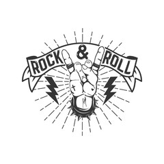 Rock and roll sign. Design element for logo, label, emblem, sign. Vector illustration