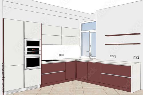 3D illustration. Modern creative kitchen design in light ...