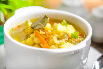 Cucumber soup with vegetables.