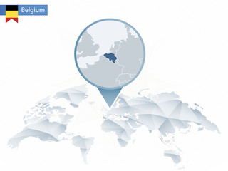 Abstract rounded World Map with pinned detailed Belgium map.