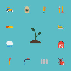 Flat Icons Farm Vehicle, Grain, Cloud And Other Vector Elements. Set Of Harvest Flat Icons Symbols Also Includes Warehouse, Sprout, Barn Objects.