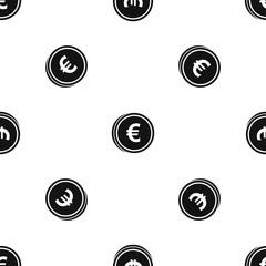 Euro coins pattern seamless black
