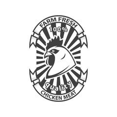 Fresh chicken meat emblem on white background. Design element for logo, label, emblem, sign. Vector illustration
