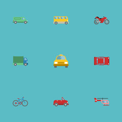 Flat Icons Cab, Motorbike, Chopper And Other Vector Elements. Set Of Vehicle Flat Icons Symbols Also Includes Chopper, Transport, Bike Objects.