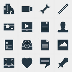 Vector Illustration Of 16 Web Icons. Editable Pack Of Settings, Maximize, Board And Other Elements.