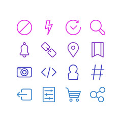 Vector Illustration Of 16 Annex Icons. Editable Pack Of Topic, Flash, Time And Other Elements.