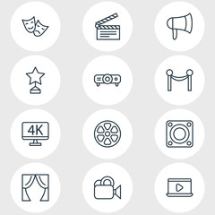 Vector Illustration Of 12 Cinema Icons. Editable Pack Of Cinema Fence, Slideshow, Camera And Other Elements.