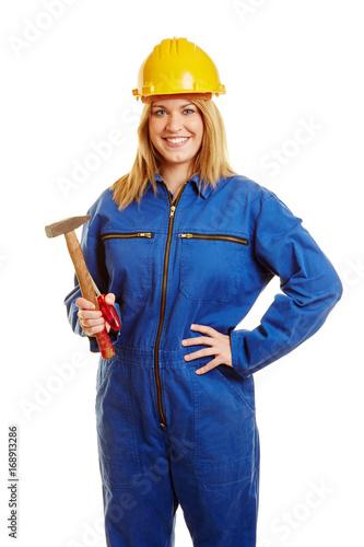 Lachelnde Frau Als Bauarbeiterin Stockfotos Und Lizenzfreie Bilder