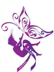 Fibromyalgia awareness. Purple  silhouette of a falling woman with purple awareness ribbon and butterfly - symbol of fibromyalgia, chronic pain and chronic fatigue syndrome, broken dreams