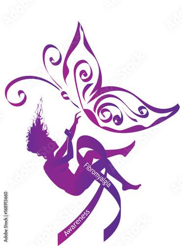 Fibromyalgia Awareness Purple Silhouette Of A Falling Woman With