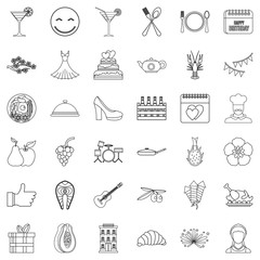 Party food icons set, outline style