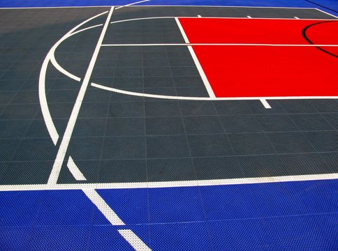 Detail of basketball and volleyball ground