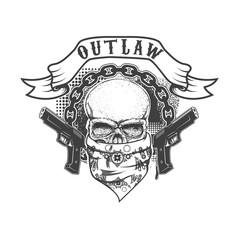 Gangster skull emblem on white background.  Vector illustration