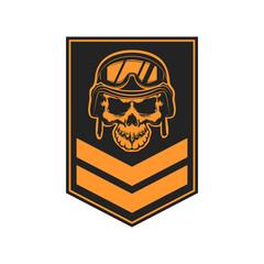 Paratrooper skull with wings. Military emblem. Design element for logo, label, emblem, sign. Vector illustration