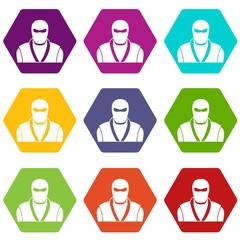 Ninja in black mask icon set color hexahedron