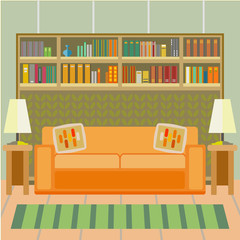 Cozy interior of a living room with a sofa and bookshelves in a flat style. Vector illustration.