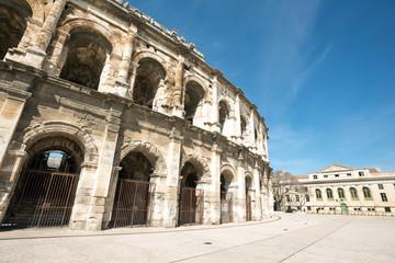 Arena of Nimes, Roman Empire landmark in Nimes city of Occitanie region, France