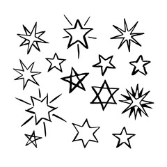 Set of hand drawn stars.