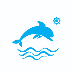 icon of dolphin jumping on the wave