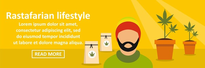 Rastafarian lifestyle banner horizontal concept