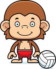 Cartoon Smiling Beach Volleyball Player Monkey