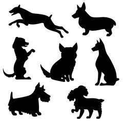 Vector set of silhouettes of dogs
