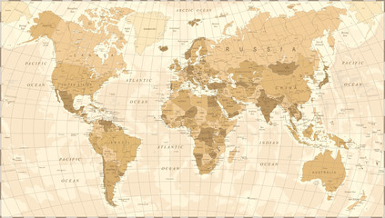 Poster de jardin Carte du monde World Map Vintage Vector