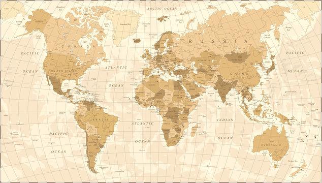 World Map Vintage Vector