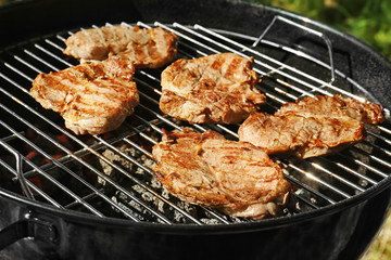 Tasty steaks on barbecue grill