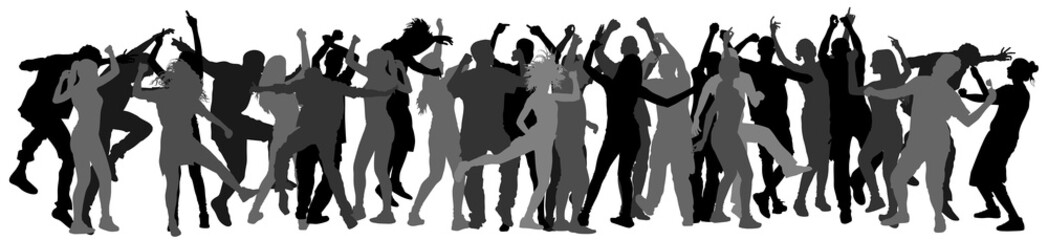 Party dancer people, girls and boys vector silhouette illustration. Nightlife party concept with crew dancing. Disco club event.