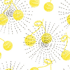 Seamless abstract pattern with yellow cherries.