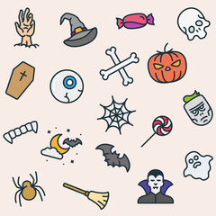 Seamless Pattern Halloween Icons Minimalistic Color Flat Line Outline Stroke Pictogram Symbol