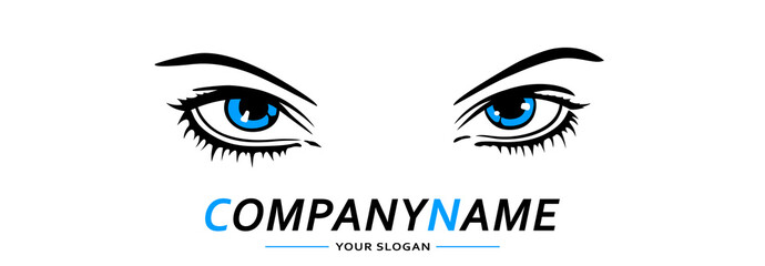 Eyes Blue Logo Woman. Vector illustration