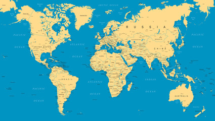 Spoed Foto op Canvas Wereldkaart World Map Political Blue Beige Vector