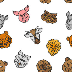 Seamless Pattern Animal Head Face Color Vector Emblem Minimalistic Geometric Line Icon. Cow, Lion, Tiger, Pig, Owl, Rhinoceros, Wolf, Ape, Bear