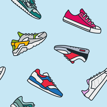Seamless Pattern Sneaker Shoe Minimalistic Color Flat Line Outline Stroke Icon Pictogram Symbol