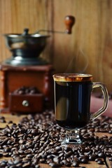 Delicious Cup of coffee with steam