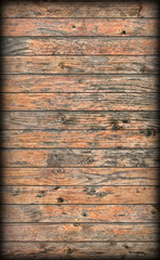 Old Weathered Rustic Knotted Pine Wood Planking Coarse Vignetted Grunge Texture
