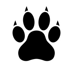 Dog paw print. Paw icon. Flat style. Vector illustration.
